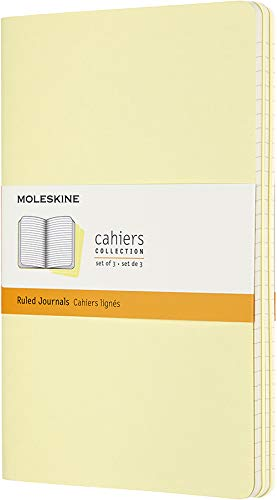 Moleskine Cahier Journal, Soft Cover, Large (5 x 8.25) Ruled/Lined, Tender Yellow (Set of 3)