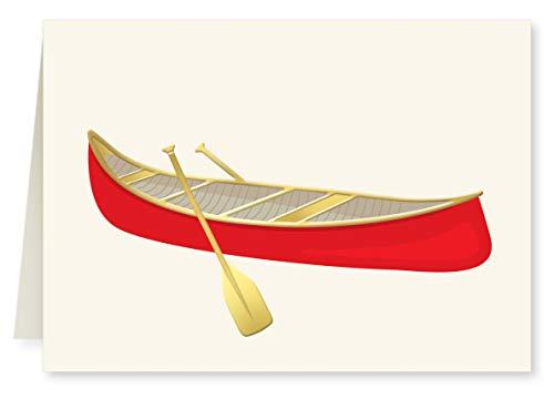 Faux Designs Canoe Foil Embossed Blank Folded Note Card Set of 8