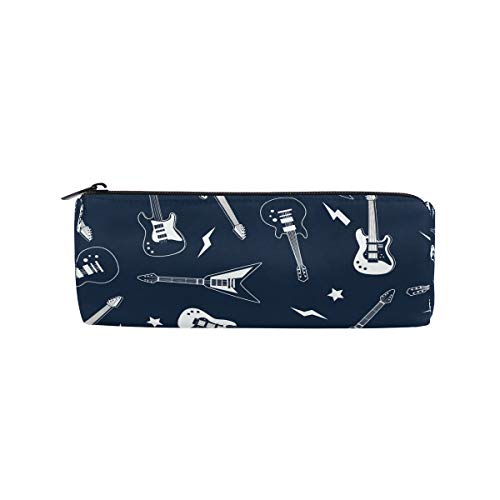 JERECY Musical Guitar Pattern Pencil Case Pouch Bag School Stationery Pen Box Zipper Cosmetic Makeup Bag ()