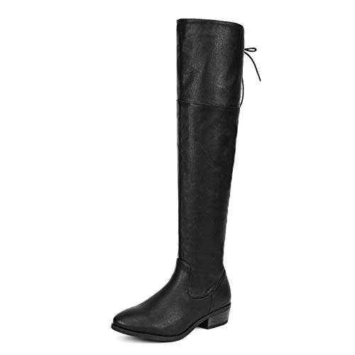 DREAM PAIRS Women's LEI Black PU Over The Knee High Low Block Heel Riding Boots Size 8.5 B(M) US