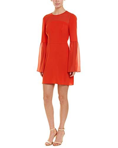 (BCBGMax Azria Women's Mixed Media Flared Dress, Poppy red, L )