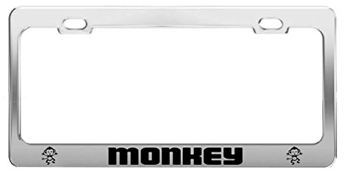 Monkey Picture Animal Lover Metal Auto Tag License Plate Frame