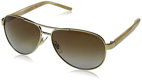 Ralph by Ralph Lauren Women's 0ra4004 Polarized Aviator Sunglasses, Gold Cream, 59.0 ()