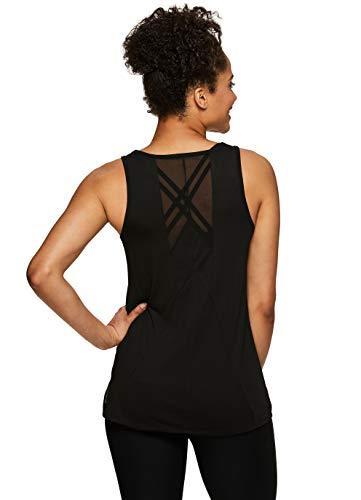 Top Black Mesh Tank - RBX Active Women's Mesh Back Scoop Neck Workout Yoga Tank Top SP.19 Black L