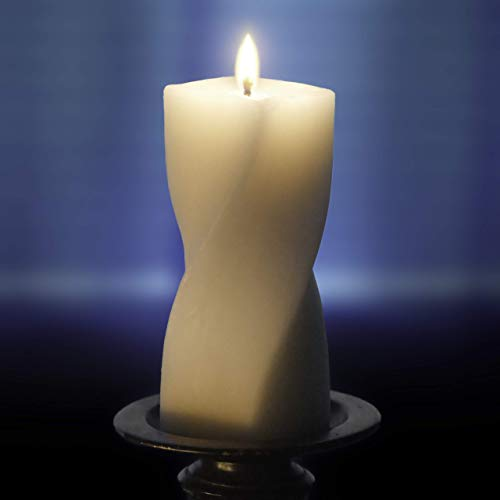 Droata Helix Pillar Candle - Pure Ivory Beeswax - 6 Inch ()
