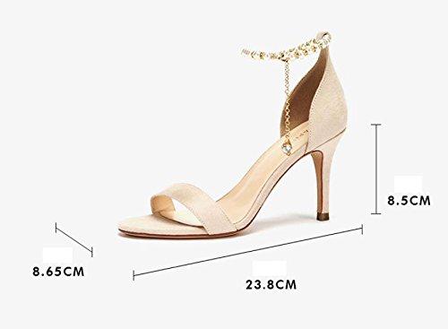 Cuentas Aguja Zapatos de Corte Moda Femeninas Tacones de Sólido Verano Nuevo de Altos Estilo Ximu Bombas Sandalias de Negro Tacones Cómodo Dulce q0P6xvUw