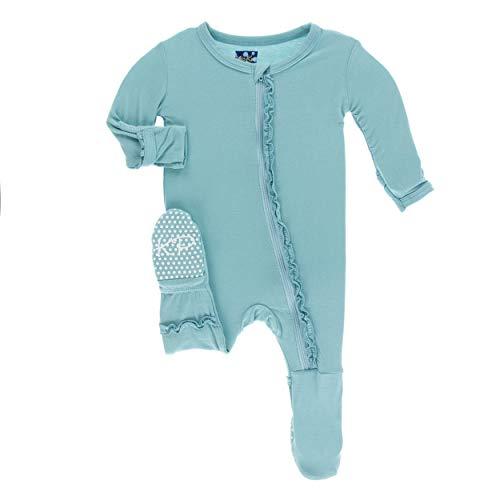 Glacier Fleece Pant - Kickee Pants Little Girls Solid Muffin Ruffle Footie with Zipper - Glacier, 3T