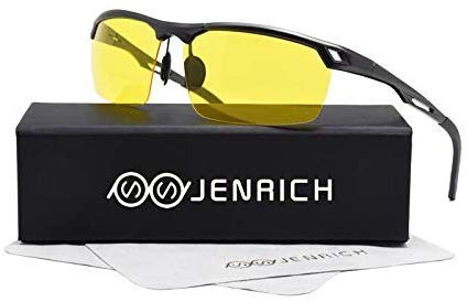 JENRICH HD Night Vision Glasses for Women Men, Driving Tac Glasses Reduce Glare from Headlights Safety Night Vision for Driving Fishing Outdoor Sports by JENRICH