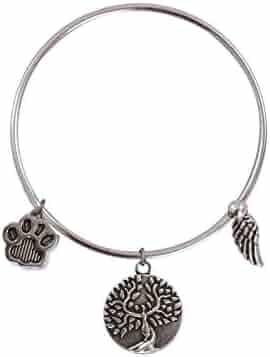 Earth Angel Dog Paw Print Bangle Bracelet in Antique Silver
