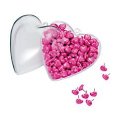 (Office Depot(R) Brand Heart-Shaped Push Pins In Matching Container, 1/2in., Pink, Pack Of 200)