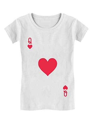 Queen of Hearts Playing Card Easy Halloween Costume Girls' Fitted Kids T-Shirt L (9-10) -