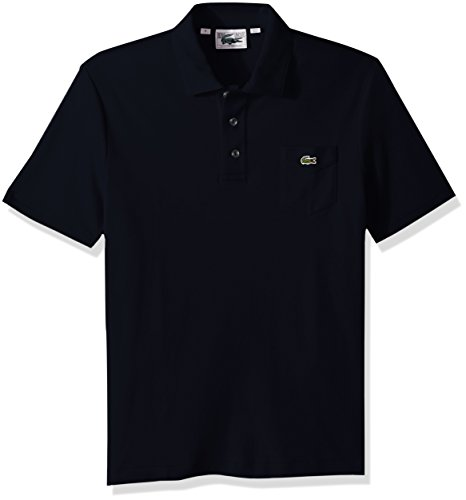 Sleeve Pima Pique Polo - Lacoste Men's Short Sleeve '85th Anni' 30's Pocket Pique Slim Polo, DH7343, Navy Blue, X-Large