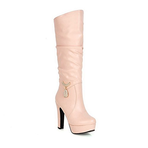 AmoonyFashion Solid Womens High Glass On Pu Diamond Mid Pull Top Boots 37 Heels with Pink HHrqw8