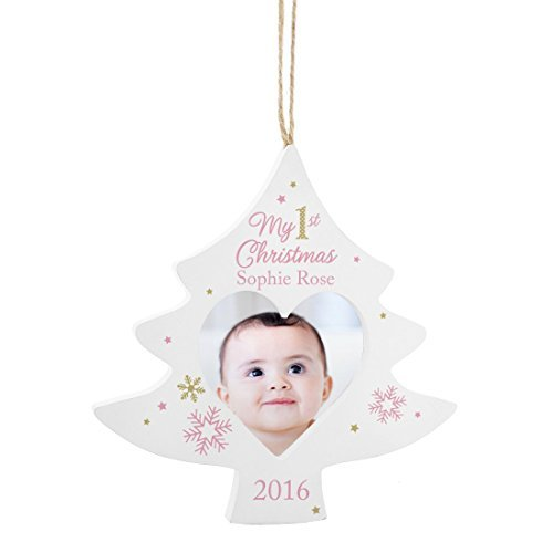 Personalised Pink My 1st Christmas Tree Photo Frame Decoration Personalised This Pink Snowflakes by GiftRush