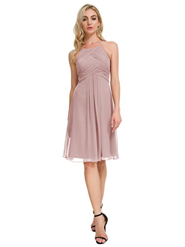 Alicepub Chiffon Bridesmaid Dresses Halter Cocktail Dress Short Homecoming Party Dresses, Silver Pink, US10