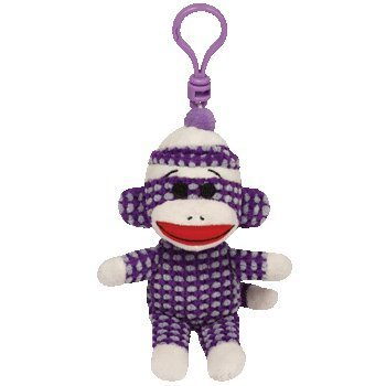 (Ty Beanie Babies Sock Monkey - Purple Quilted Clip )