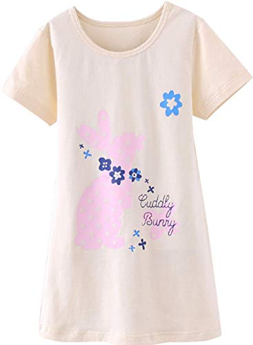 Girls Nightgown Cotton Nightshirt Cute Floral Princess Pajamas Sleep Dress Yellow Rabbit 150 9-10Years