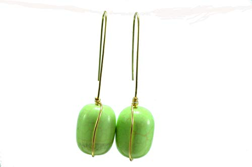 Cindy Green Turquoise Barrel Shape Drop Earrings with Gold Plated Wire