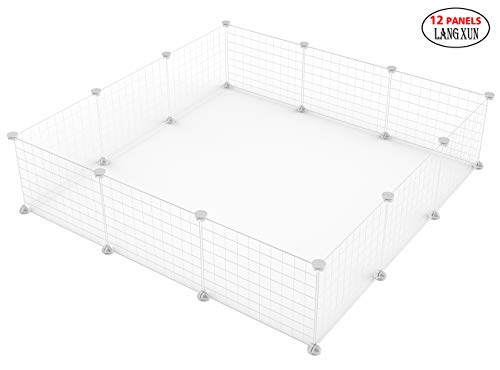 LANGXUN 12pcs Metal Wire Storage Cubes Organizer, DIY Small Animal Cage for Rabbit, Guinea Pigs, Puppy   Pet Products Portable Metal Wire Yard Fence (18″ H)