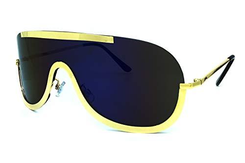 O2 Eyewear 4431 Premium Oversize XXL Wraparound Rimless Shield Flat Top Women Men Revo Mirror Sunglasses (BLUE, 160)