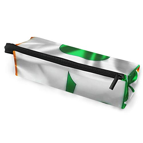 Pen Case Pencil Bag Sunglasses Irish Flag Shamrock Clover Holder Cosmetic Pouch with Zipper Compartments