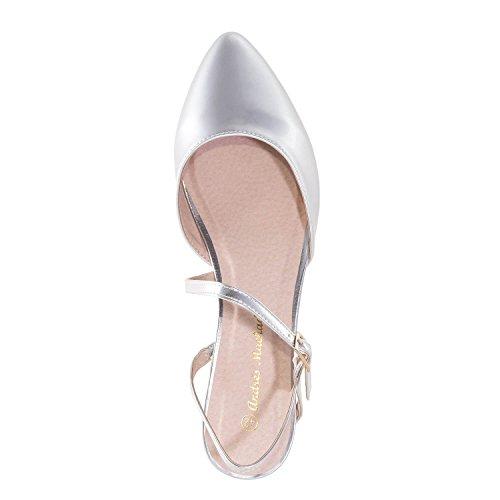Andres Machado AM5284 - Ballerina mit Offener Hacke.EU 42 bis 45 Soft Silber