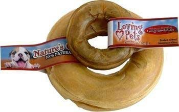 (Loving Pets DLV4720 Natures Choice Natural Pressed Rawhide Donuts for Dogs, 6-Inch by Loving Pets)