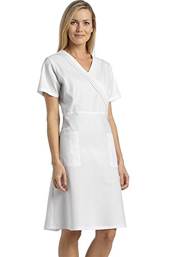 - Marvella by White Cross Women's Pleated Mock Wrap Scrub Dress XXXX-Large White