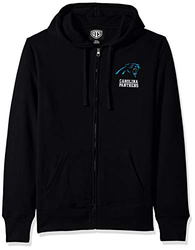 NFL Carolina Panthers Male NFL OTS Fleece Full-Zip Hoodie Distressed, Jet Black, ()