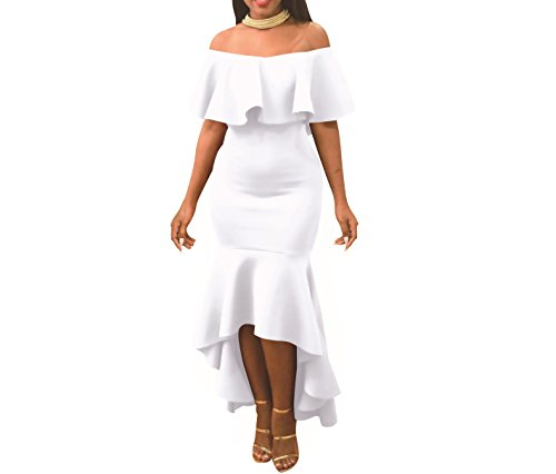 EHNSYZYU Women' Sexy Off Shoulder Ruffle Party Mermaid Elegant Midi Long Dress(White, Medium)