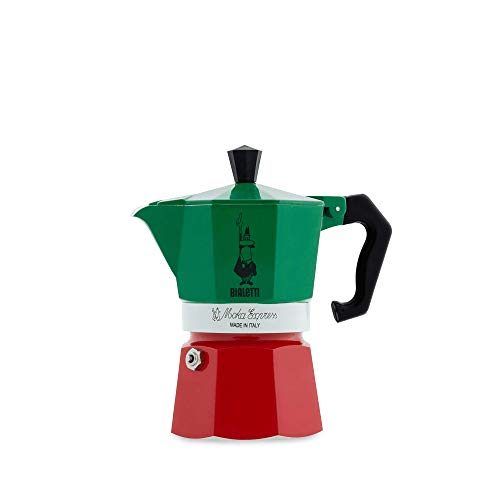 Bialetti Moka Express Italia Collection (Tricolor), 3 cup coffee maker, Aluminum