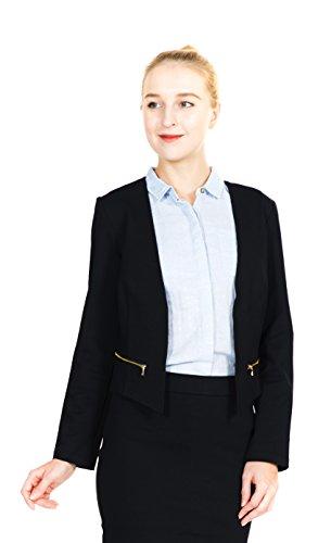 Megan apparel Women's Casual Work Office Blazer Front Long Sleeve Cardigan Jacket Side Zippers