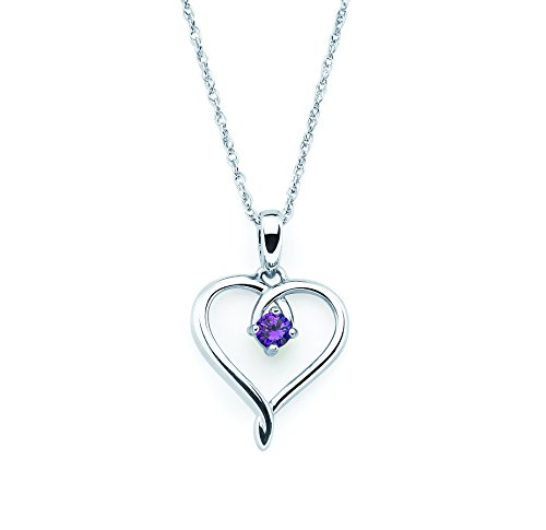 Genuine Amethyst 925 Silver Pendant - 925 Sterling Silver Genuine Amethyst February Birthstone Heart Pendant Necklace with 18