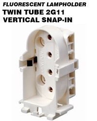 Leviton 13453 CFL Lampholder 4-Pin 2G11 Base 18W-55W Snap-In Vertical Mount - White (Package of 5)