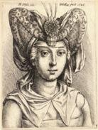 Sheet of 21, 2.5 inch x 1.5 inch (6.35 x 3.8cm) Gloss Stickers Wenceslaus Hollar - Woman with a turban