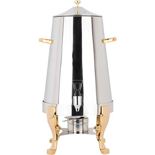 Coffee Chafer Urn with Gold Accents - 5 Gallon,Stainless Steel 80 cup