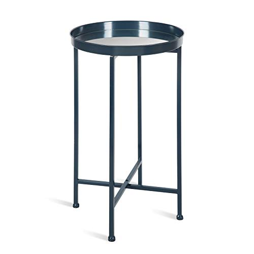 Kate and Laurel Celia Round Metal Foldable Accent Table with Mirror Tray Top, Navy Blue ()