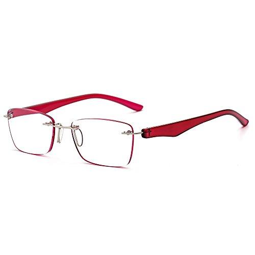 Fashion Framless Reading Glasses Men Women Rimless Vintage Anti Glare Red 2.5 Strength Computer Glasses BM112