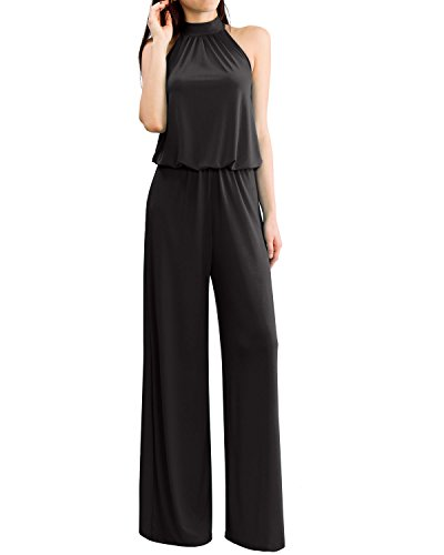 Women's Sleeveless Mock Neck Tie Back Solid Jumpsuits and Rompers by URBAN K