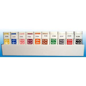 1-5/16''H x 1-1/4''W Assorted GBS/VRE Compatible Numeric Label Kit (10 Rolls/Set) - TBBS-91310