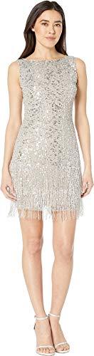 - Adrianna Papell Women's Petite Sleeveless Fringe Beaded Cocktail Dress Silver 12 Petite