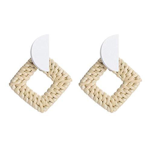 (QIZIAA New Fashion Korea Handmade Geometric Wooden Big Hollow Out Square Rattan Straw Weave Drop Earrings For Women E71)