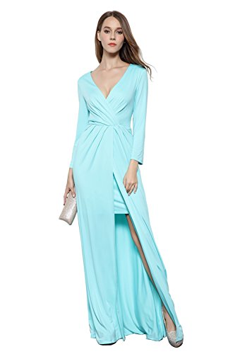 [Merope J Womens Deep V Neck Chiffon Long Sleeves Pleated Elegant Dress(10,Blue)] (Cute Conservative Halloween Costumes)