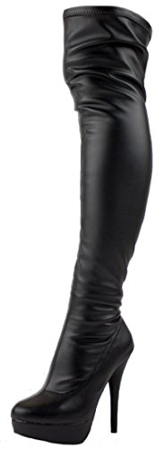 Womens Ladies Thigh High Over the Knee Winter Stretch Pull on Platform Stiletto Sexy Heel Knee Boots Size 3-8 Black