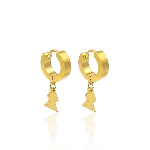 Punk Fashion Women Mens Lightning Bolt Hoop Earrings Circle Round Drop Hip Hop Thunder Earrings Jewelry-gold ()