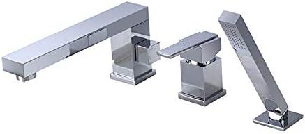 真鍮浴槽の蛇口セットホットコールドウォーターシャワーミキサータップデッキマウントバスルームシングルハンドル3穴浴槽の蛇口ハンドヘルドシャワー付き,クロム