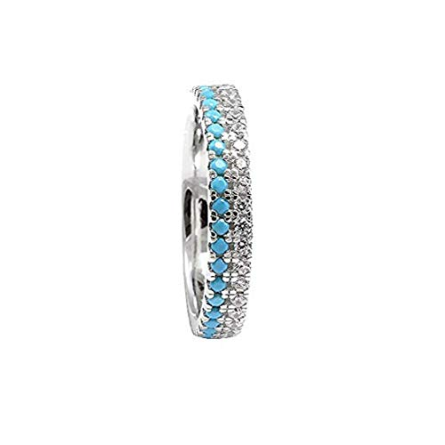 Blue Apple Co. 3.5mm Eternity Stackable Band Ring Double Round Simulated Turquoise Clear CZ 925 Sterling Silver... (11)