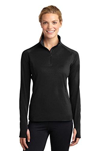 Sport-Tek Women's Sport Wick Stretch 1/2 Zip Pullover XL Black