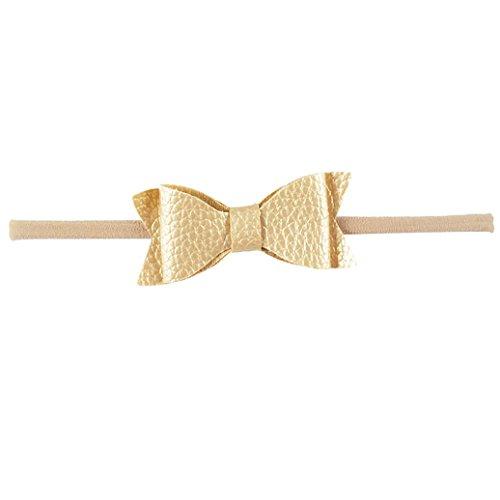 (Academyus Girls Toddler Leather Elastic Bow Dress Headband Hairband Wraps -Gold)