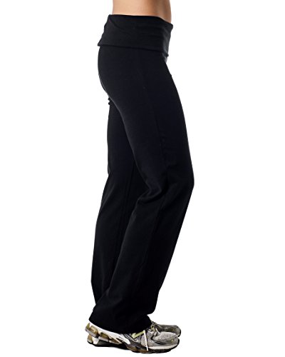 Alki'i Luxurious Cotton Lycra Fold over Yoga Pants, Black XL by Alki'i (Image #2)